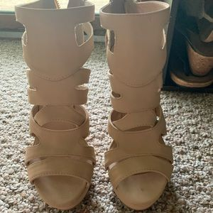 Shoes - Tan/Beige High Heels. WORN ONCE.